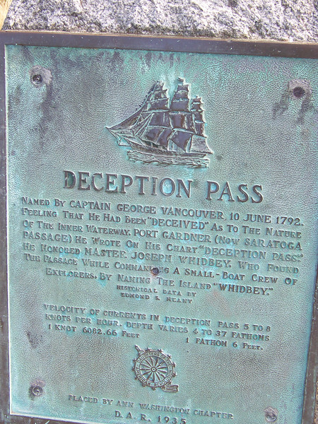 Plaque on the Deception Pass bridge.