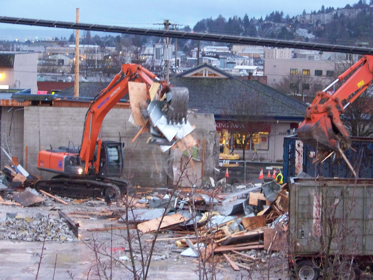 January 10, 2008.  Behind the demolition of the old Ballard QFC building, the Viking Bank building is visible from my balcony for the very first time.
