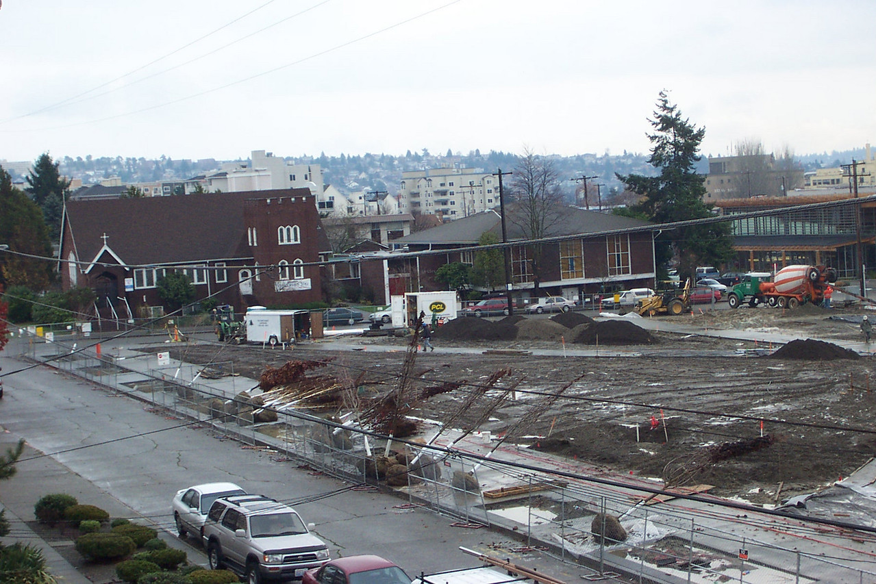 In early December 2005, trees are delivered to the site of Ballard Commons Park.