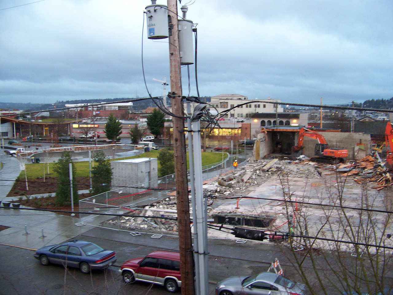 January 10, 2008.  To the east of the demolished Ballard QFC building, I could now see much of Ballard Commons Park that was never visible from my balcony before.