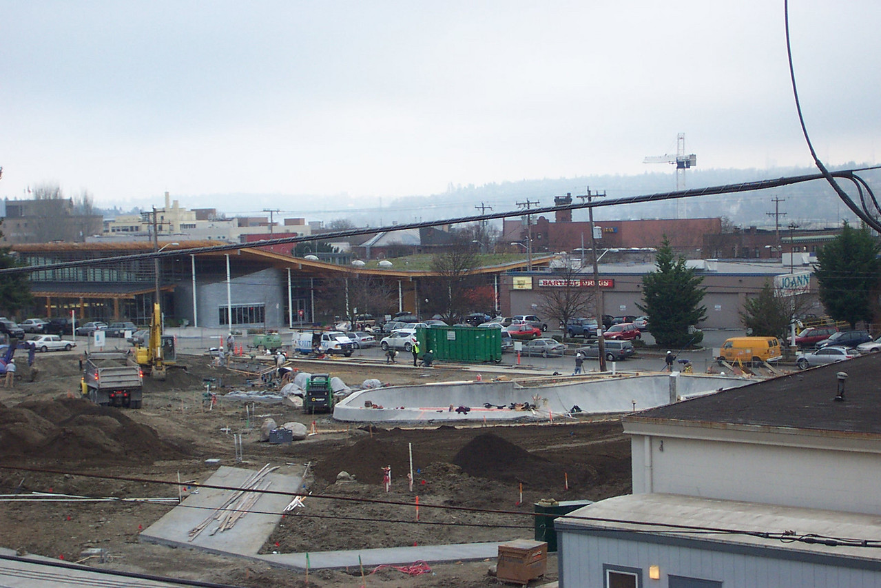 November 2005.  In this shot, you can clearly see the future skate bowl in Ballard Commons Park.