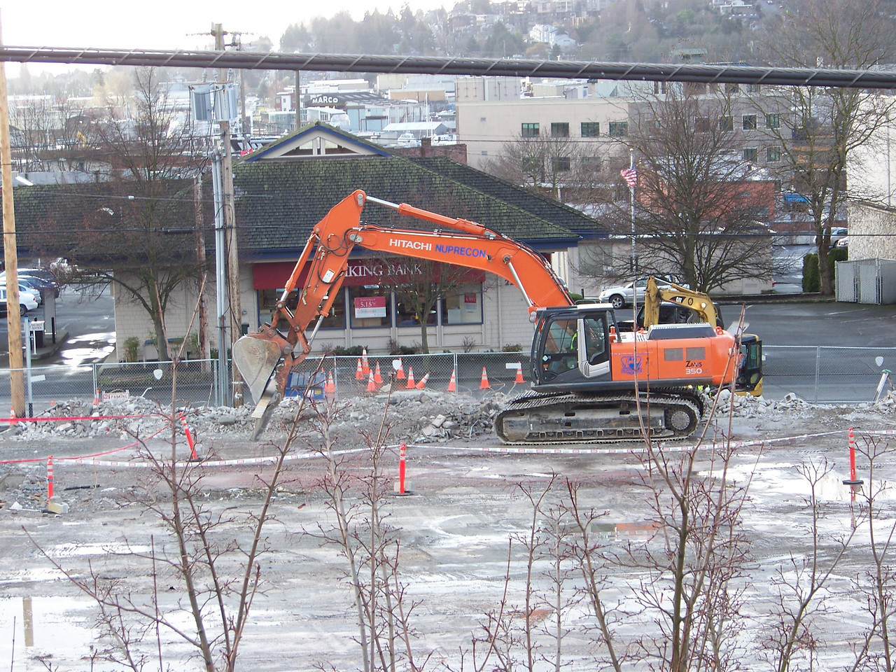 January 11, 2008.  Only a little rubble remains on top of the old Ballard QFC's foundation.
