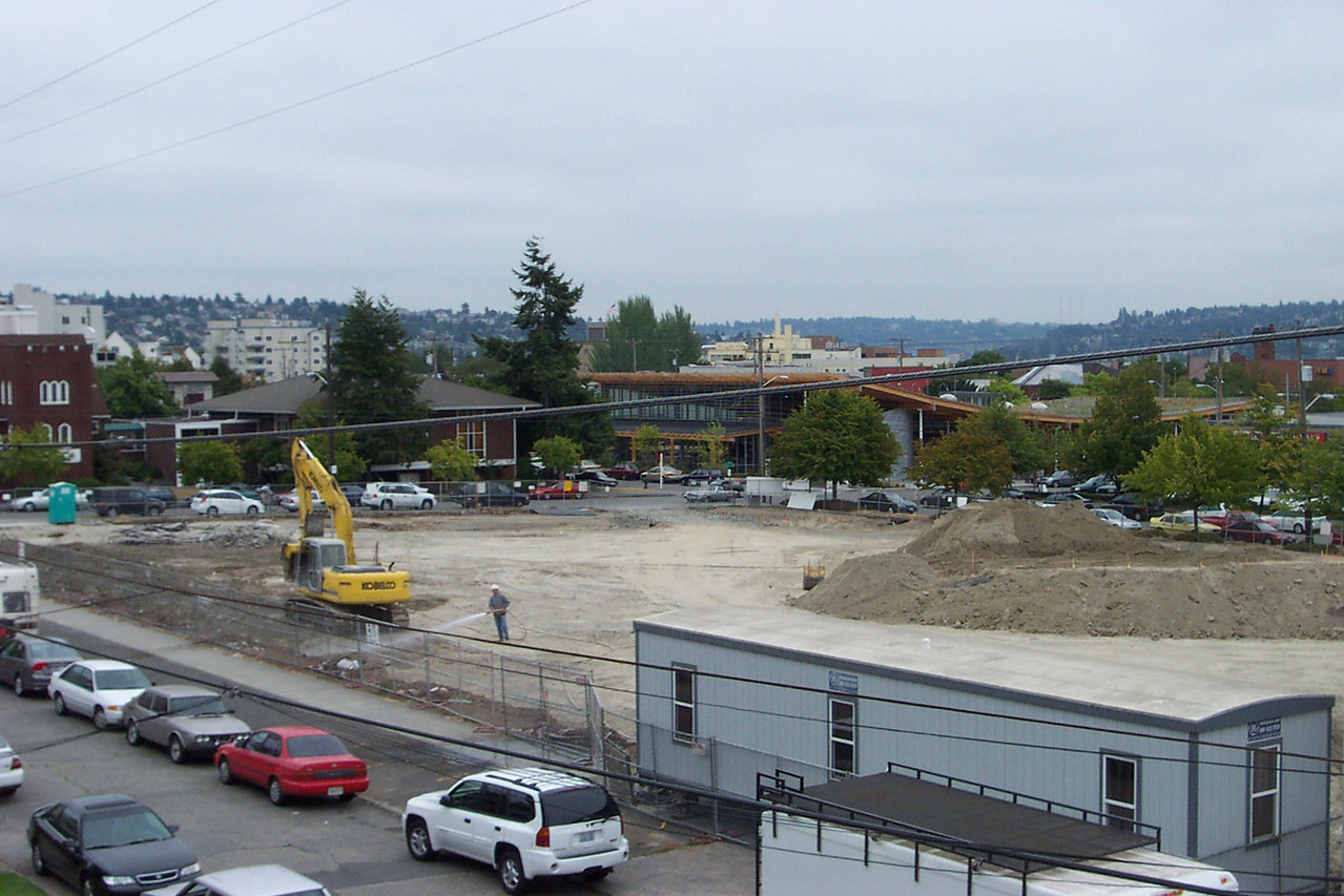 August 2005.  The mound of dirt at right is from the excavation for the skate bowl, which is one of Ballard Commons Park's main features.  It's about as large and deep as a swimming pool (but dry, of course).