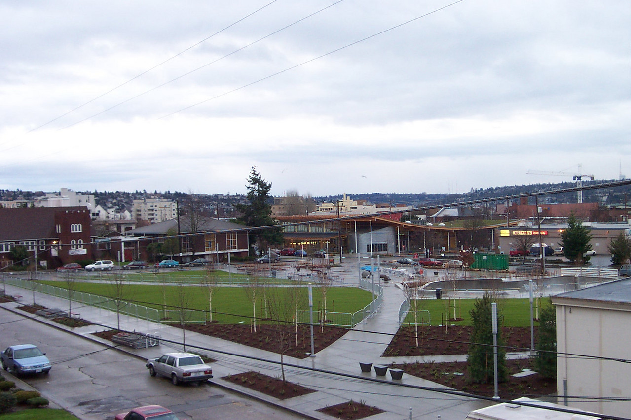 December 30, 2005--the day the construction fence came down around the entire site of the new Ballard Commons Park.  The lawn is in place, the trees are all planted, beds are filled, and those annoying lights (the gray poles) are installed throughout the site.