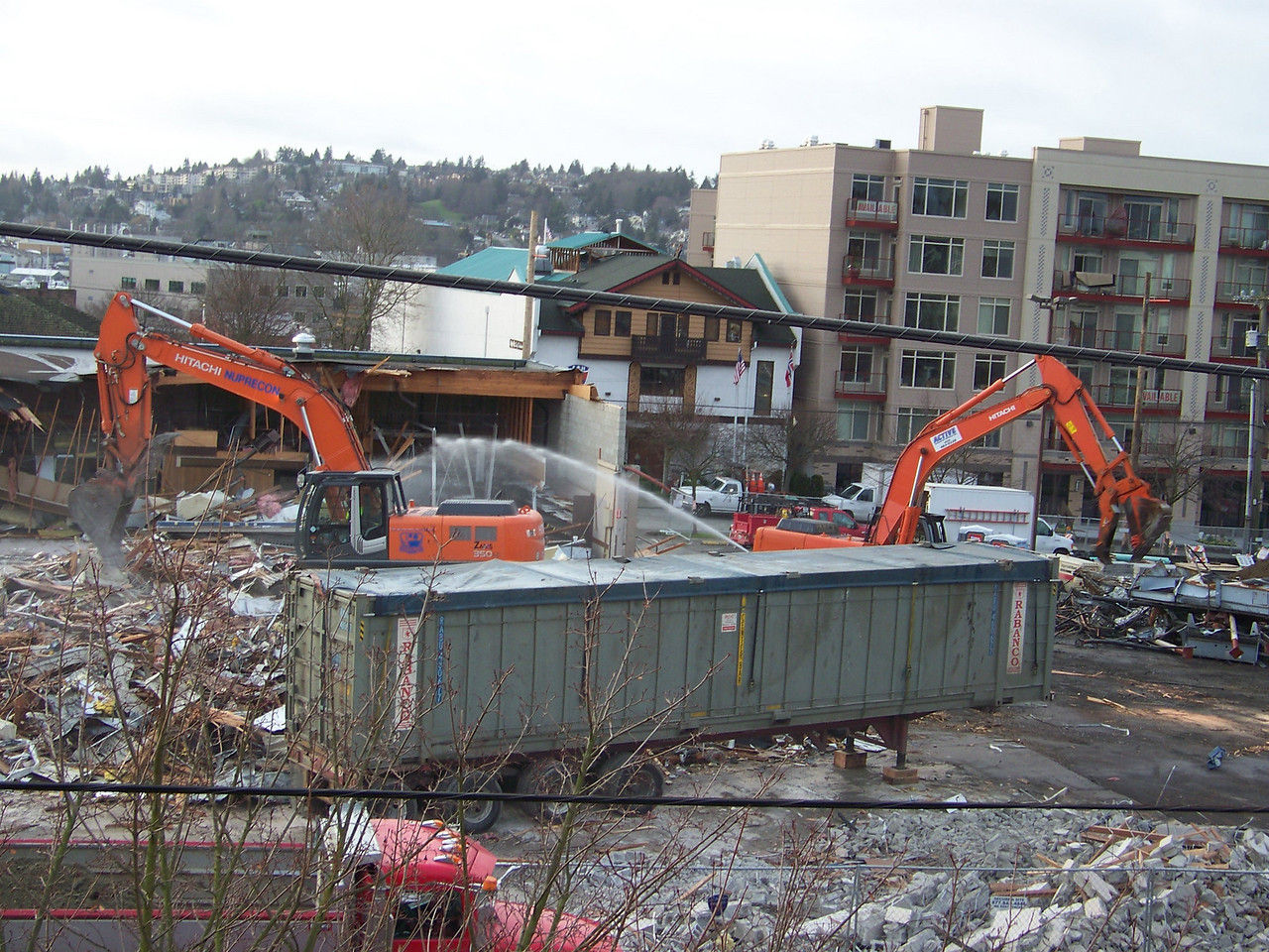 January 9, 2008.  Demolition of the old Ballard QFC building.
