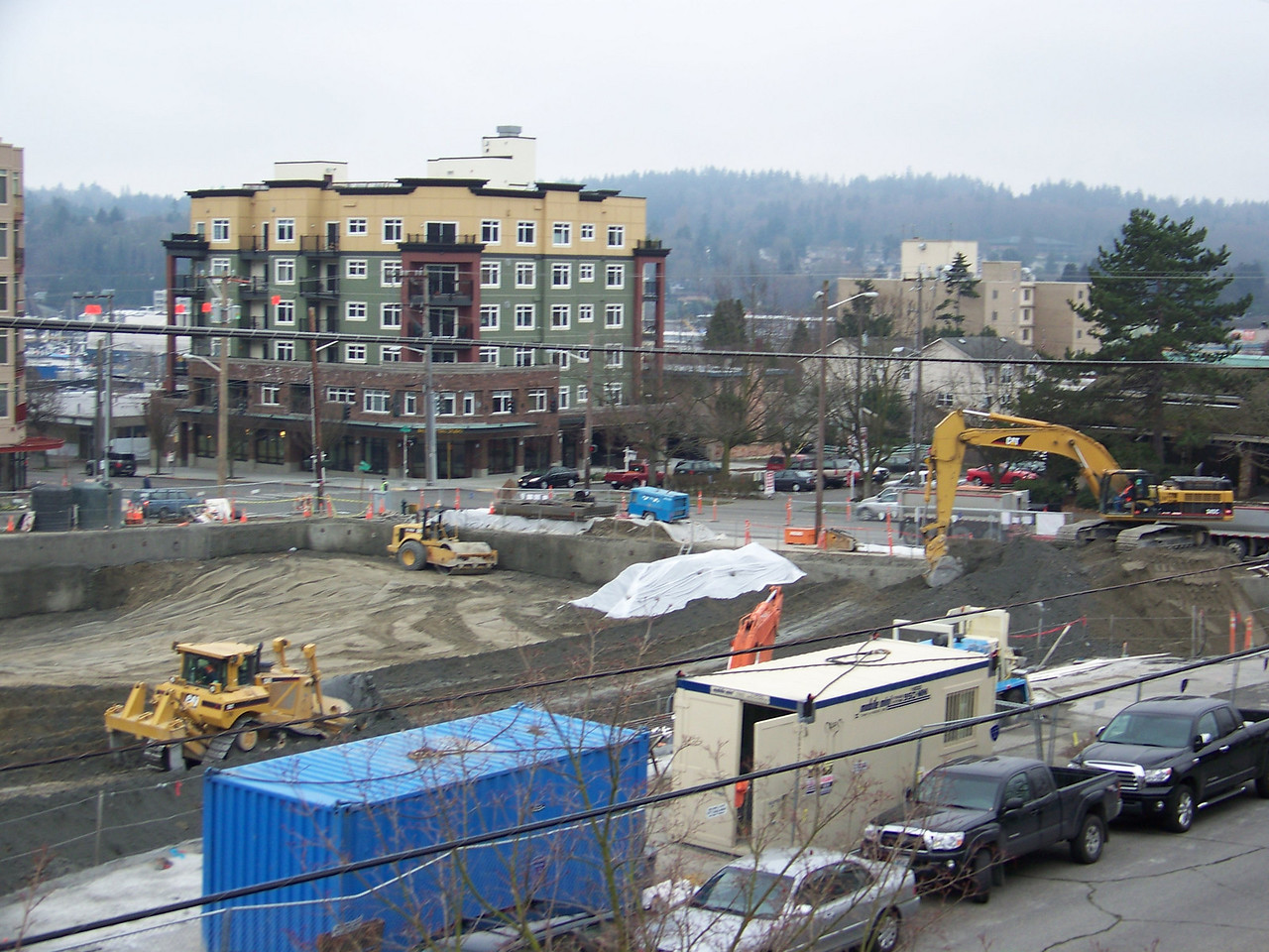 "February 28, 2008.  Excavating the site of Ballard's ""On the Park"" apartment building."