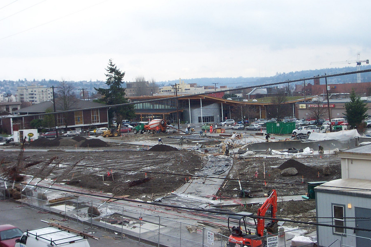 Early December 2005.  Ballard Commons Park was still a big, muddy mess before the lawn and landscaping went in.