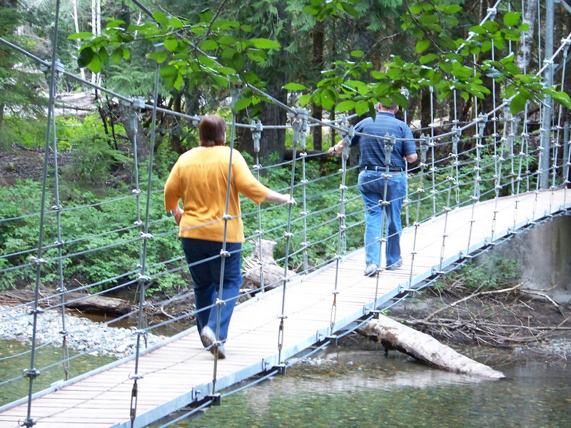 The bridge over the Ohanapecosh River was very bouncy!<br /> [Mount Rainier - Grove of the Patriarchs]