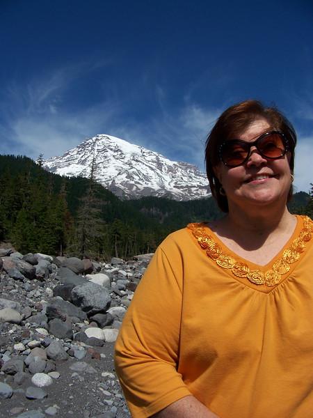 My sister Wendy.<br /> [Mount Rainier]