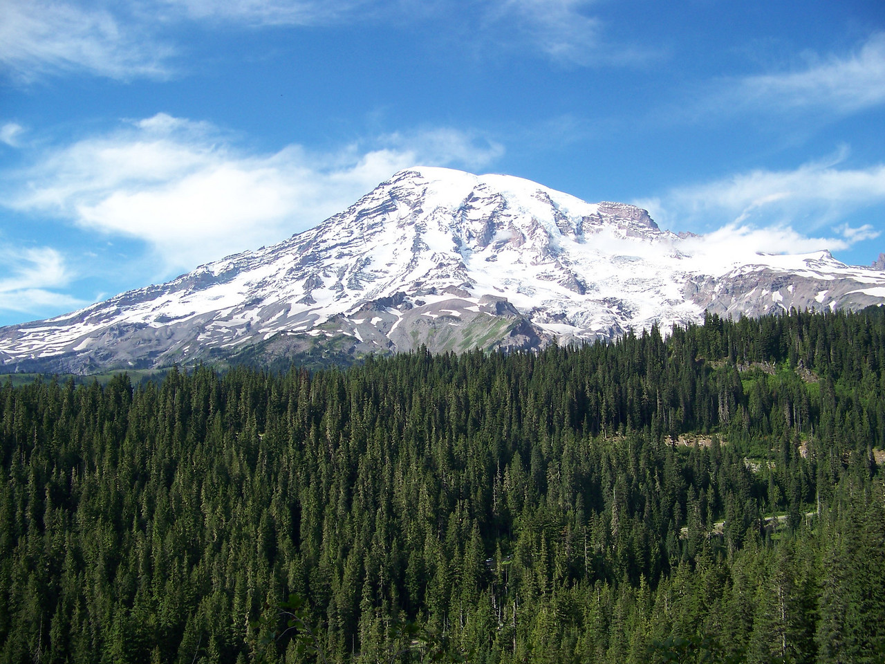 Mom's mountain in all its glory.  We were so fortunate for the weather we had on this day--clouds completely covered it the next day.<br /> [Mount Rainier]