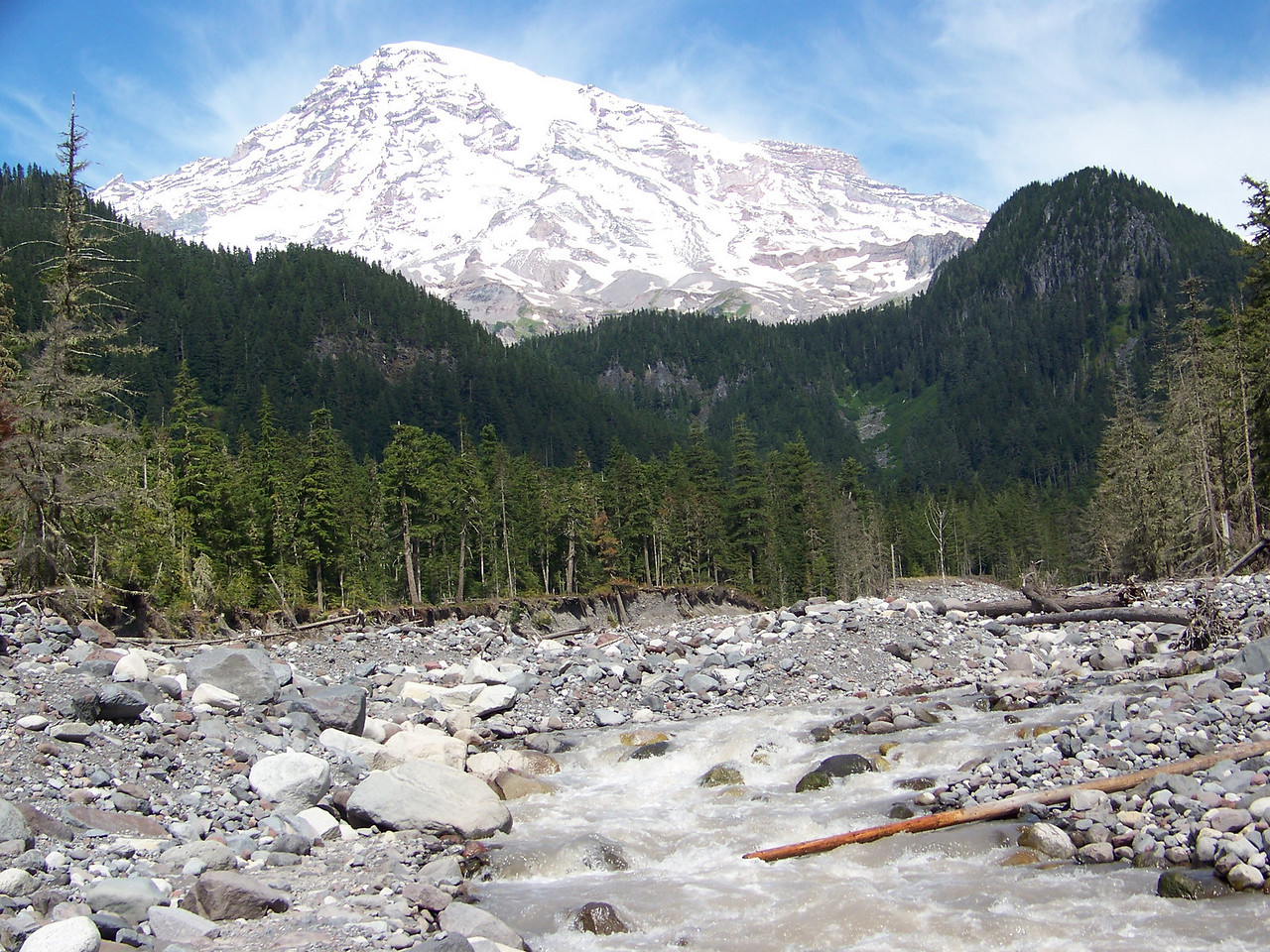 """Our first stop in the park was at the Nisqually River.  The river begins as meltwater from a glacier (also called Nisqually) on Mount Rainier.  The """"glacial silt"""" gives the water that dirty appearance.  A few years before, this river flooded and altered the landscape quite a bit here."""