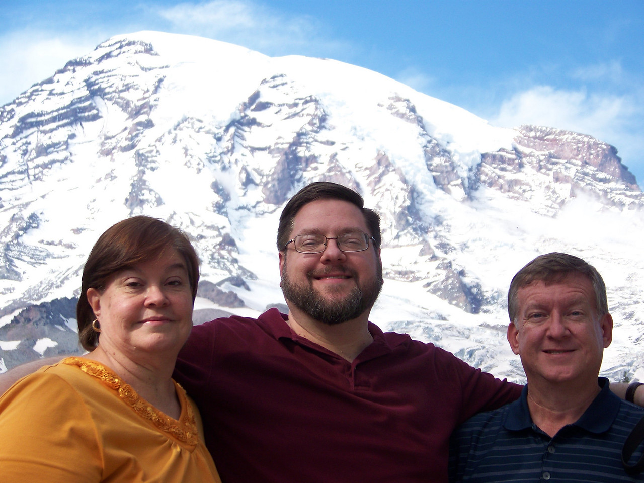 Once more without the dark glasses!  Wendy, Jon, and Mark.<br /> [Mount Rainier]