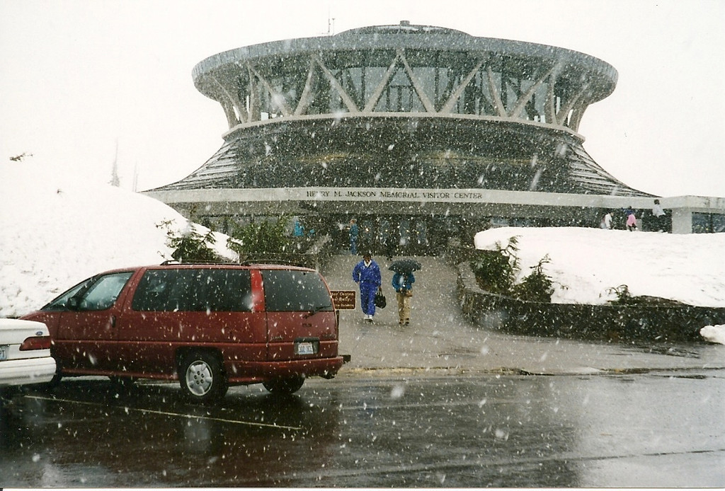 Higher up at Paradise, the rain became snow!  Here's the old Visitor's Center.
