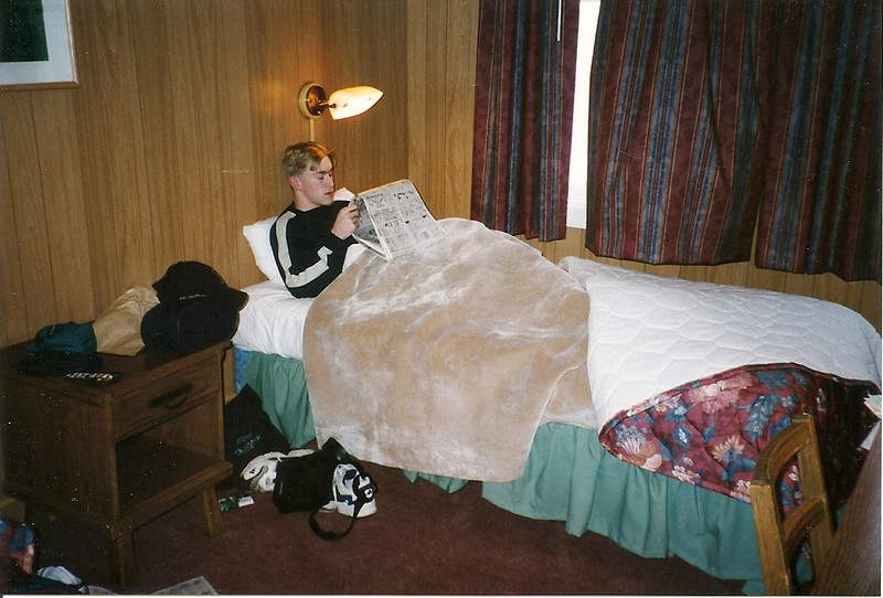 Here's Josh in our room.  We were in the newer wing of the Inn.