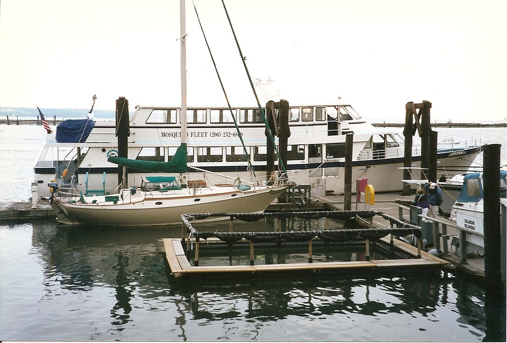 """We went on a whale-watching excursion.  That's our """"Mosquito Fleet"""" boat at the dock in Everett where our trip began."""
