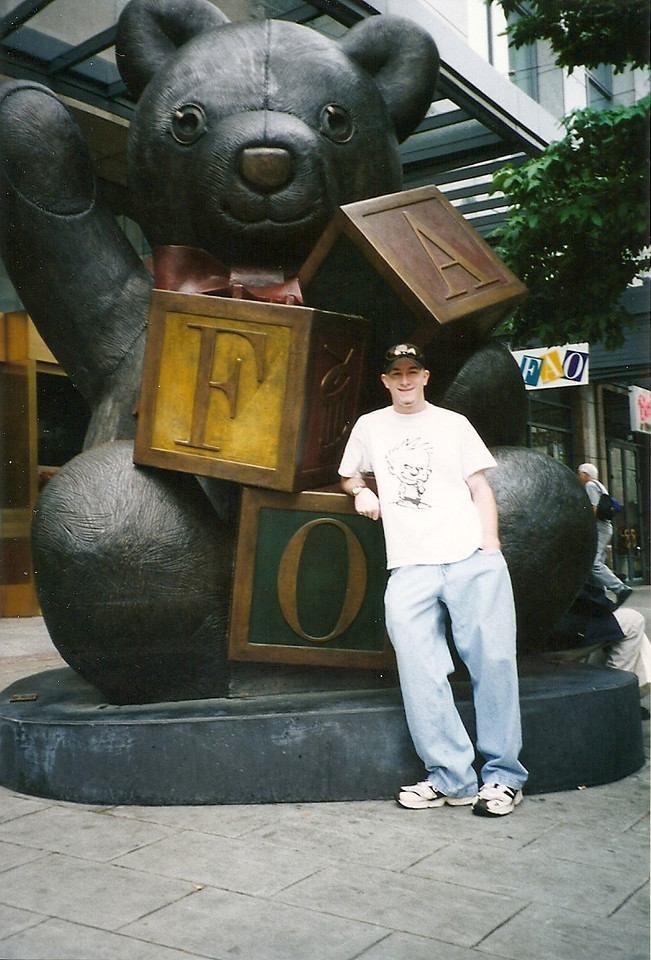 This huge teddy bear sculpture was outside of our F.A.O. Schwartz toy store in Seattle.  Sadly, the charming store closed several years later.  When they left town, they took the bear with them.