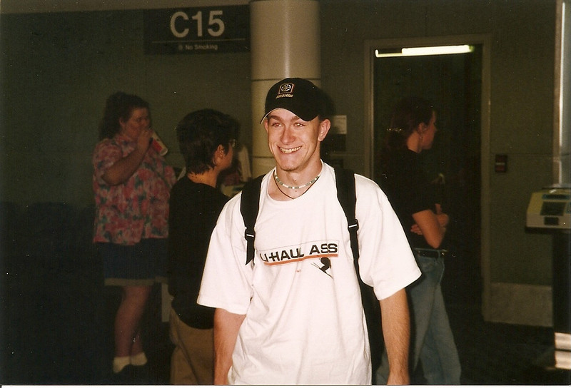 Josh arrives at SeaTac.  This was the good-old days, when you could actually meet someone at the gate!