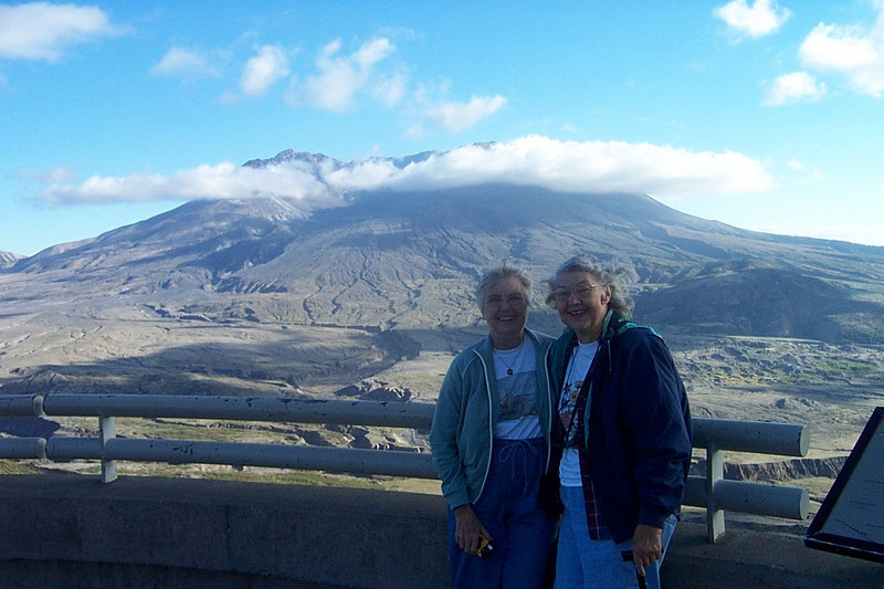 Mom and her cousin Peggy Carmody at Mount St. Helens.  September 2003.