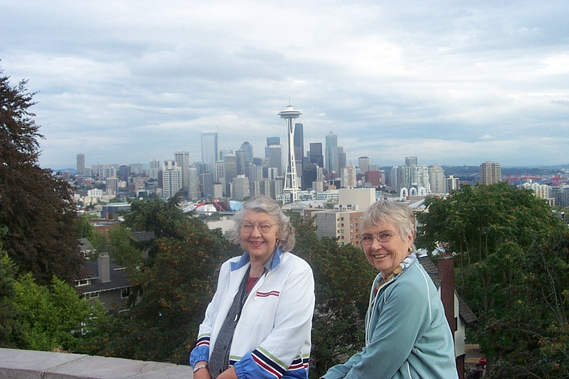 Mom and her cousin Peggy Carmody at Kerry Park in Seattle.  September 2003.