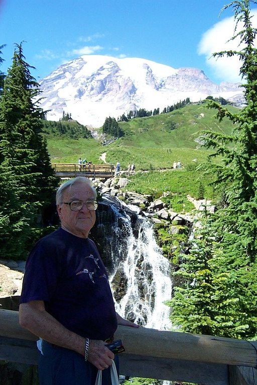 Dad, Myrtle Falls, and the Mountain.