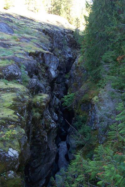 The creek way, way down at the bottom of narrow Box Canyon.
