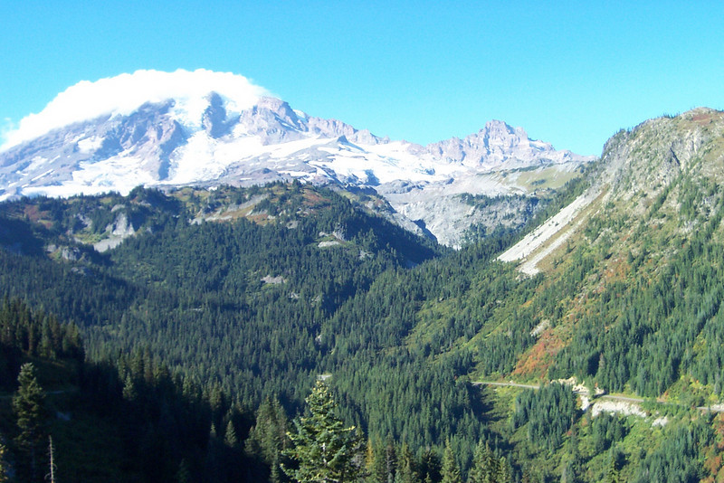 Mount Rainier as seen from Stevens Canyon.  We were very, very lucky to get a day with such beautiful weather this late in the season!
