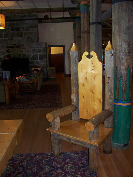 "All of their ""signature"" furnishings were still there, such as the log chairs."
