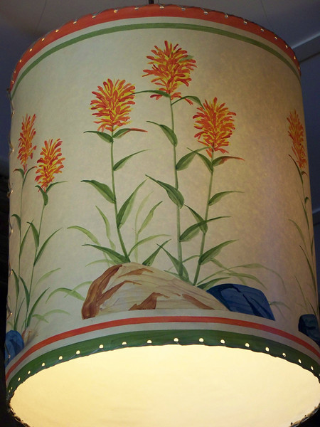 Hand-painted light shade in the Paradise Inn.