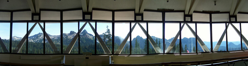This is a panoramic shot I made of the Tatoosh Range, as seen out the windows from the top level.  Enlarge it to see the mountains better.