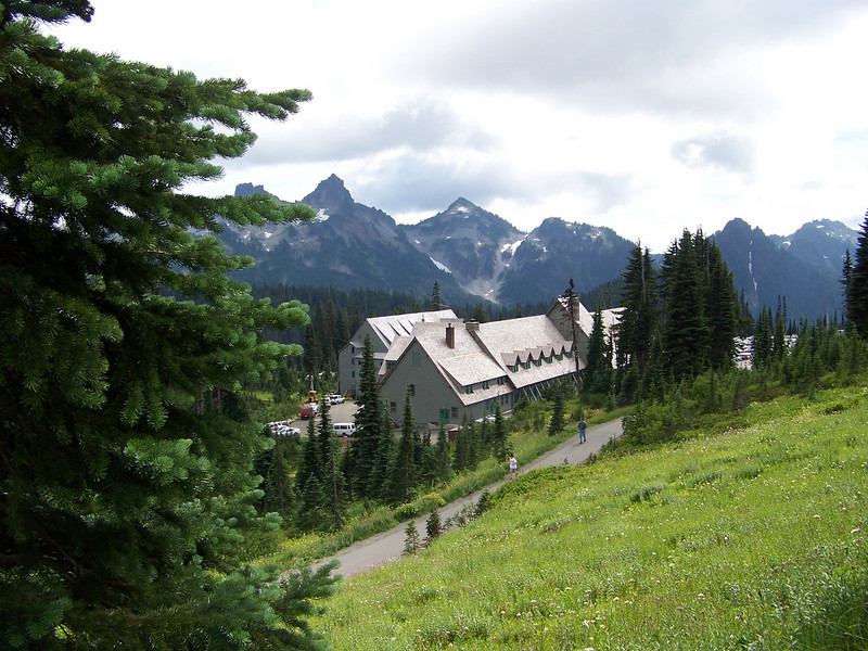 My trail traversed the hillside above the Paradise Inn.  The peaks of the Tatoosh Range are in the background.