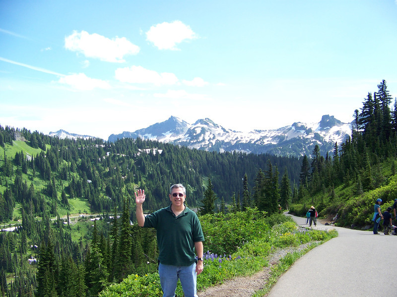 "Dave says ""Hello from Paradise!""  Even though he's a Washington native, he had only been to Mount Rainier once before when he was a little kid, and didn't remember anything about it.  It took over 20 years of being his best friend to get him to go there with me!"