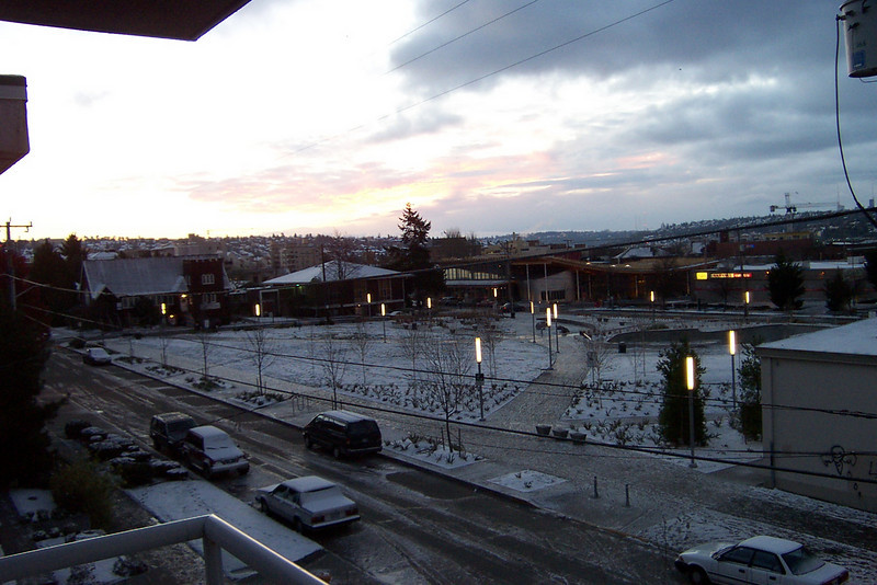 On November 28, 2006, I woke up to a dusting of snow.  This is the park where the Safeway building used to be.