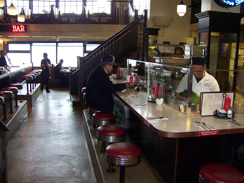 We had lunch at the Athenian Inn Restaurant in the Pike Place Market.  In the movie Sleepless in Seattle, Tom Hanks and Rob Reiner have a brief scene at the restaurant's lunch counter seen here.