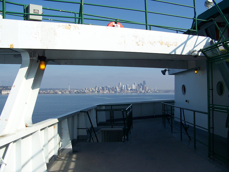 Downtown Seattle seen from the other side of Puget Sound, framed by the structure of the ferry.  We didn't have time to do anything on Bainbridge Island, so we just rode the ferry right back to Seattle.  It was very pleasant out on the water.