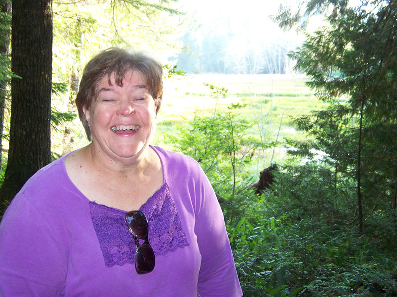 Why is this woman laughing?  I'll never tell!<br /> [At the Longmire meadows, Mount Rainier]