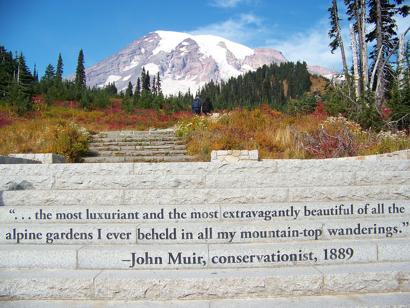 """Since my last visit to Mount Rainier, they had built a new staircase leading to the trails up above the visitor center at Paradise.  Carved on the front of the stone stairs is a quote from John Muir in which he called Paradise, """"...the most luxuriant and the most extravagantly beautiful of all the alpine gardens I ever beheld in all my mountain-top wanderings."""""""