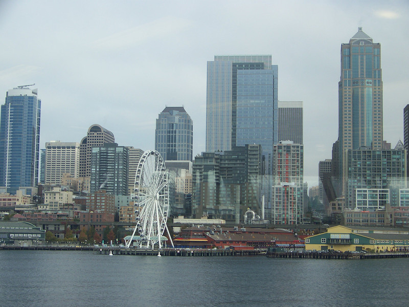 Downtown Seattle as seen from the departing ferry.