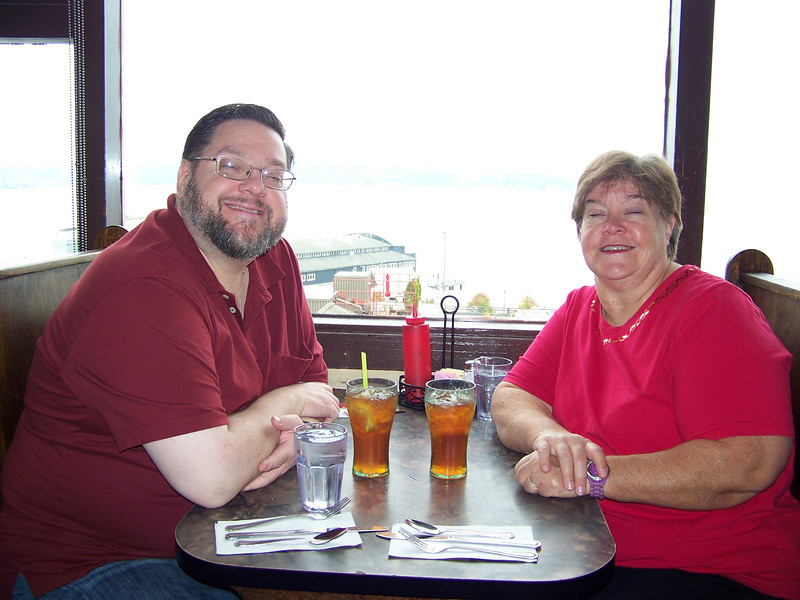 Jon and Wendy in our booth at the Athenian Inn Restaurant in the Pike Place Market.  There's a nice view from the restaurant overlooking Elliott Bay and the Seattle Waterfront, but the camera washed it out in this shot.