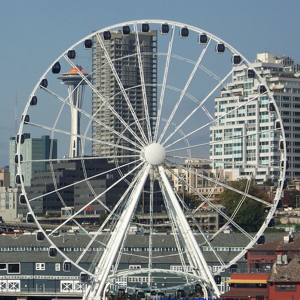 After our ride, we walked over to the ferry terminal and caught the next ferry to Bainbridge Island.  I took this shot of the Seattle Great Wheel with the Space Needle behind it from the deck of the ferry as we pulled out.