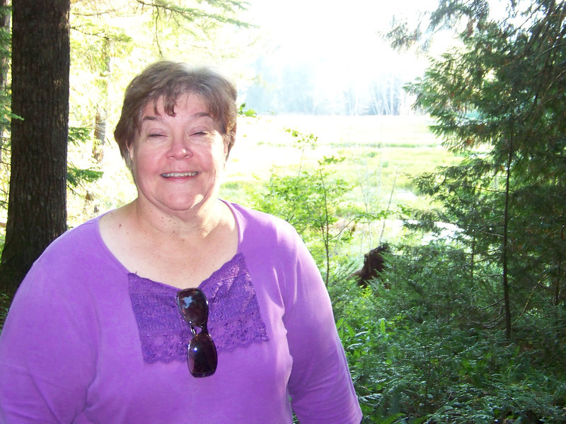 Wendy on the trail at the Longmire meadows.<br /> [Mount Rainier]