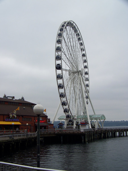 The Seattle Great Wheel is about 175 feet tall, and was the tallest Ferris wheel on the west coast when it opened.  It's built on a pier over the water of Elliott Bay, which makes it feel even taller when you're riding it.