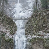 Multnomah Falls in winter with snow and ice