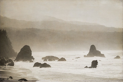 Port Orford inlet, Red Fish Rocks and China Mountain on a rainy January Day