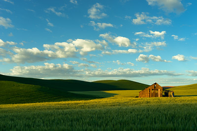 Palouse image with wheat field, old western barn