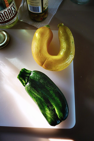 Crooked veggies! First time seeing a conjoined zucchini
