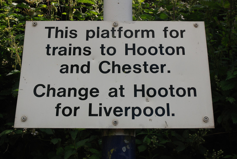Sign left over from the old days when the service used to run from <br /> <br /> Helsby through to Rock Ferry and Hooton post electrification of the <br /> <br /> line to Ellesmere Port from Hooton