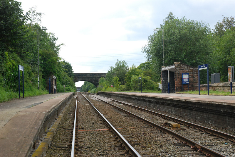 Shot taken from the crossing show the whole station looking towards Ellesmere Port