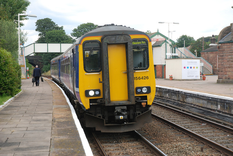 Date 12th July 2011 <br /> <br /> 156 426 <br /> <br /> Working 15.17 Helsby -  Ellesmere Port  <br /> <br /> Gaurd changes ends after arriving ECS from Chester & shunting into <br /> <br /> Platform 4 ready to work the first trip to Ellesmere Port the 15.17 <br /> <br /> departure
