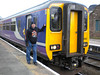 Pic by Liz <br /> <br /> Ghost Station Man possess next to 156 482 at Helsby prior to <br /> <br /> departure on the 15.17 to Ellesmere Port