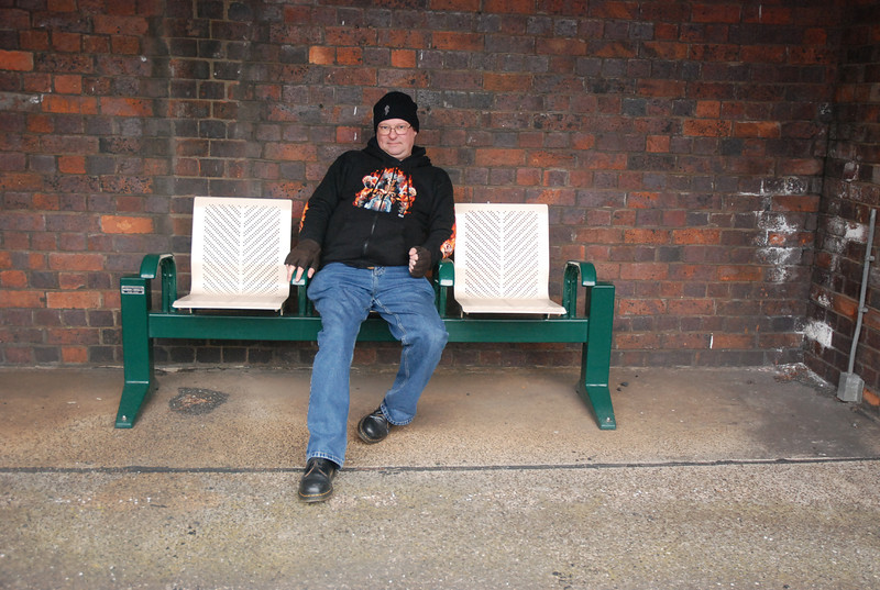 Ghost Station Man waits for the 15.34 Ellesmere Port - Helsby